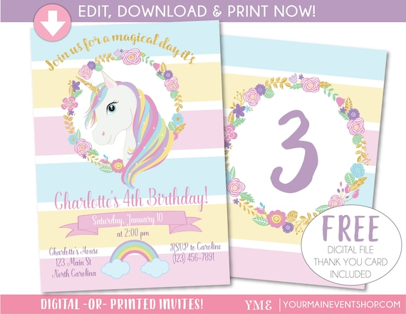 Trust image with free printable unicorn invitations