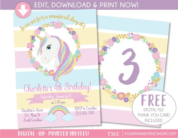 Unicorn Invitation Unicorn Party Invite Magical Rainbow