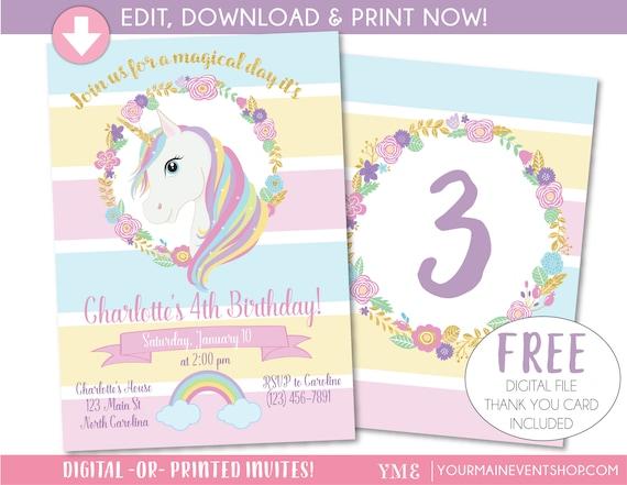 Unicorn invitation unicorn party invite magical rainbow stopboris Image collections