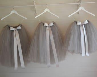 Flower Girl dress, long grey tutu skirt, flower girl tutu, tutu skirt, baby tutu, tulle skirt, girls tutu skirt, birthday princess tutu
