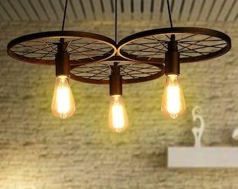 cheap rustic lighting. 3 Wheels Pendant Light Industrial Lighting For Bar Rustic Retro Fixture Cheap