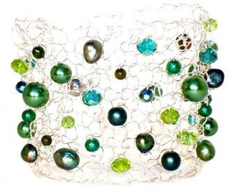 beaded bracelets, arm cuff, pearl cuff bracelet, greenery, May birthday gift, emerald green, handmade jewelry gift,  pearl jewelry