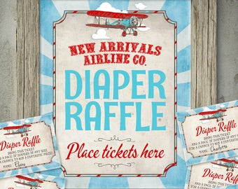 Vintage Airplane Diaper Raffle - INSTANT Download - Printable Aeroplane Airline Baby Shower Digital Poster, Sign, Tickets by Sassaby Parties
