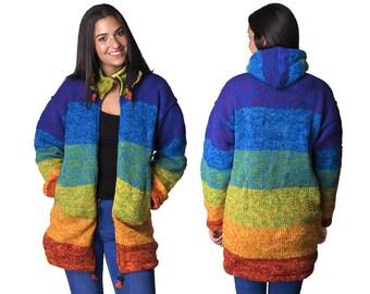 Womens Wool Hoodie, Hand Knit Wool Winter Coat - Long Length, Rainbow - 1940A