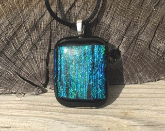 Black Fused Dichroic Glass Pendant Necklace Blue and Green