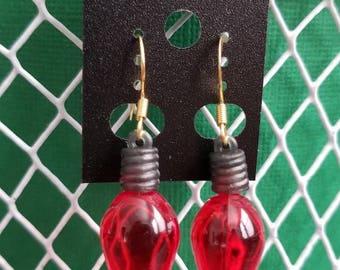 Red Christmas Bulb Earrings/Christmas Tree/Lightbulb
