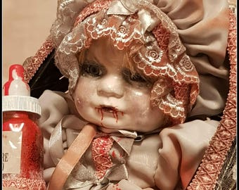 Vampires Daughter - Baby Vampire doll in basket ooak porcelain doll