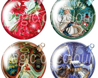 Digital Collage of  Vintage Christmas Ball  - 20  2x2 Inch Circles JPG images - Digital  Collage Sheet