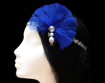 1920s Gatsby headband. Great gatsby headband. 1920s flapper headband. Blue feather headpiece. Bridal headpiece. Bridesmaid headpiece.