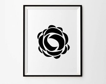 Rose, 5 x 7 in, 8 x 10 in, 11 x 14 in, Black and white print, Flower Wall Art, Minimalist print, Printable Art, Instant Download