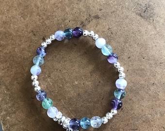 Purples & Greens Sea Glass Bracelets