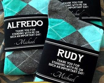 Socks Personalized Groomsmen Gifts Wedding / Unique Groomsman & Usher Gift / Personalized Groomsmen Socks Wedding / Labels for Socks