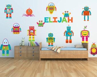 Robot Wall Decal - Nursery Name Decal - Name Wall Decal - Robot Theme Nursery - Robot Theme Nursery