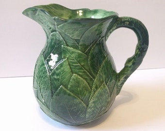 Vietri Hand Painted Green Leaf Pitcher 7969 Italy 8 Inch 72 oz Embossed Glazed