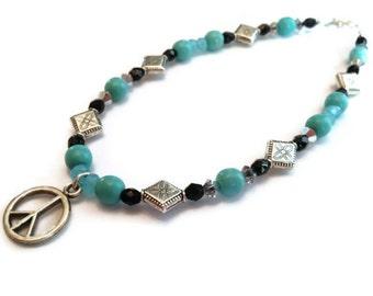 Peace Anklet, Turquoise Anklet, Ankle Bracelet, Gemstone Anklet,Inspirational, Summer Jewelry,Sale