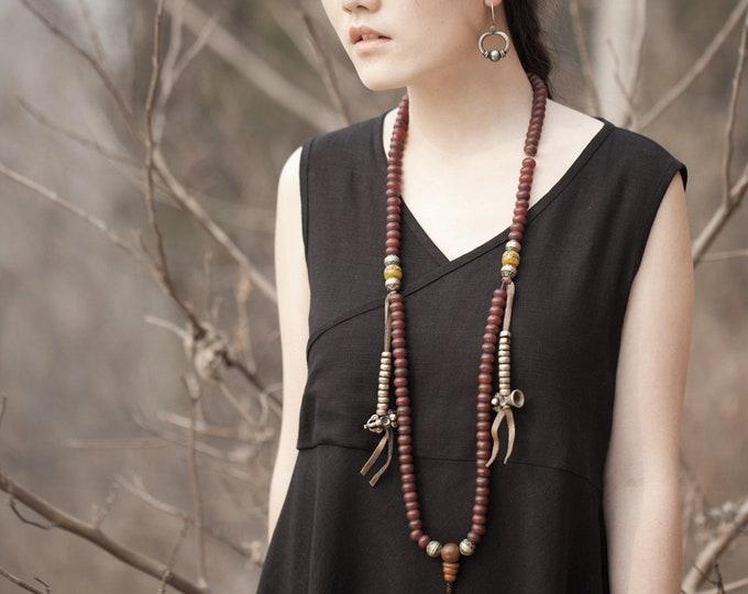Women dress - Sleeveless Dress - V neck cross - Summer dress - Linen dress - Made to order