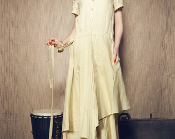 Maxi Linen Dress - Linen Cocktail Dress - Bridesmaid Dress, Romantic Evening Designer Dress ( XL,XXL, Custom Plus Size Dresses) A8026