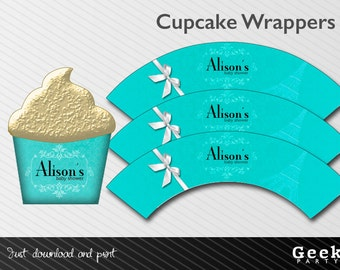 Blue Baby/Bridal Shower Cupcake Wrappers - Digital or Printed - New Baby - Birthday - Sweet Sixteen - Shower
