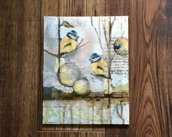 Mixed Media Art, Chickadees, Birds In Art, Collage Art, Put A Bird On It