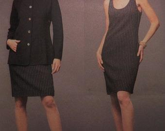 Geoffrey Beene Sleeveless Dress Scoop neck Jacket Sewing Pattern Vogue 2573  Size 8 10 12 Bust 31.5 32.5 34 UNCUT ff