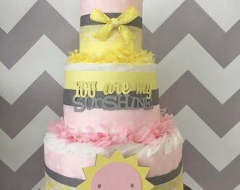 You are My Sunshine Diaper Cake in Pink, Yellow and Gray, You are My Sunshine Baby Shower Centerpiece