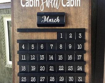 Wooden Perpetual Calendar.  Unique cabin decor or gift for any occasion.