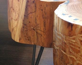 live edge coffee table - with mid century modern hairpin legs - nimbus cloud table - natural edge - mod - urban wood salvage