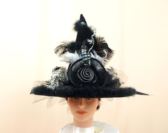 Cream and Black Witch Hat, Halloween Witch Hat, Halloween Hat, Spider Hat, Black and White Witch Hat, Witch Costume, Wicca Witch Hat