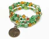 Green and Amber Luck Memory Wire Bracelet, Luck Charm Wrap Bracelet, Green Beaded Wrap Bracelet, St. Patrick's Day Charm Bracelet