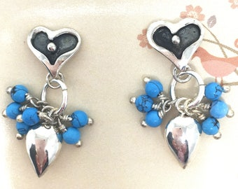 Turquoise Bead and Sterling Silver Heart Earrings, #JS2399, Turquoise Dangle Heart Earrings, JS2399, Teardrop Turquoise Earrings, JS2399