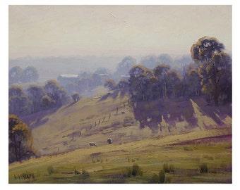 LANDSCAPE PAINTING Cottles Bridge Vic Sheep Farm by Graham Gercken