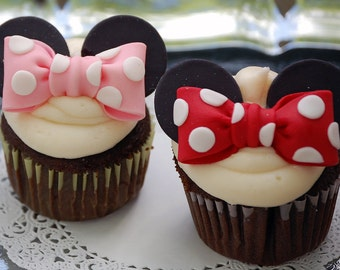 Minnie Mouse Edible Fondant Bows with Ears Cupcake Toppers
