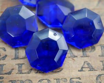 Vintage Chandelier Crystal Old Cobalt Chandelier Crystal Cobalt Glass Intense Color Two Hole (1)