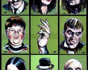 "Prints 5x7"" - The Addams Family - Halloween Horror Dark Art"