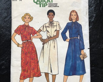 Vintage 1970s Misses' Dress with Keyhole Neckline Dress Pattern // Quick! Butterick 6000, size 14, Large, pullover