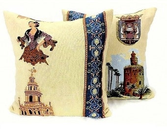 Seville Spain Pillow Cover Hand Woven Seville Cushion Cover Reversible Throw Pillow Cover Rustic Vintage Pillow case Indoor Outdoor Accent