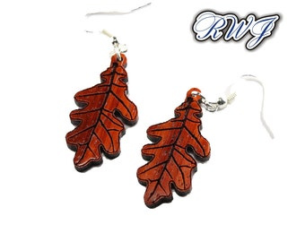 Wooden Oak Leaf Earring, Autum, Fall Season