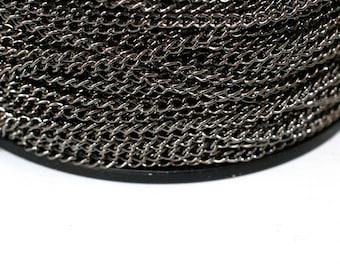 42ft Black Twist Chain-Curb Chain 3.7x2.5mm-unsoldered