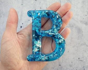 Alphabet Letter B, Wall Letter B, Blue Resin Silver Leaf, Decorative Letter, Blue Letter, Letter Wall Art, Wall Letter, Hanging Letter
