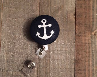 Navy Blue Anchor Badge Reel - Nautical - ID Badge Holder - Name Badge - Nurse Badge - RN Badge