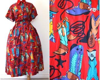 Vintage 80s Dosey Doe Cowboy Boots Full Skirt Cotton Shirt Dress (size small, medium)