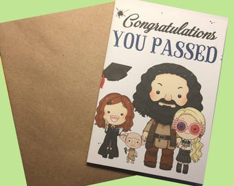 Congratulations You Passed Hermione, Hagrid, Luna and Dobby Harry Potter inspired A6 greetings card