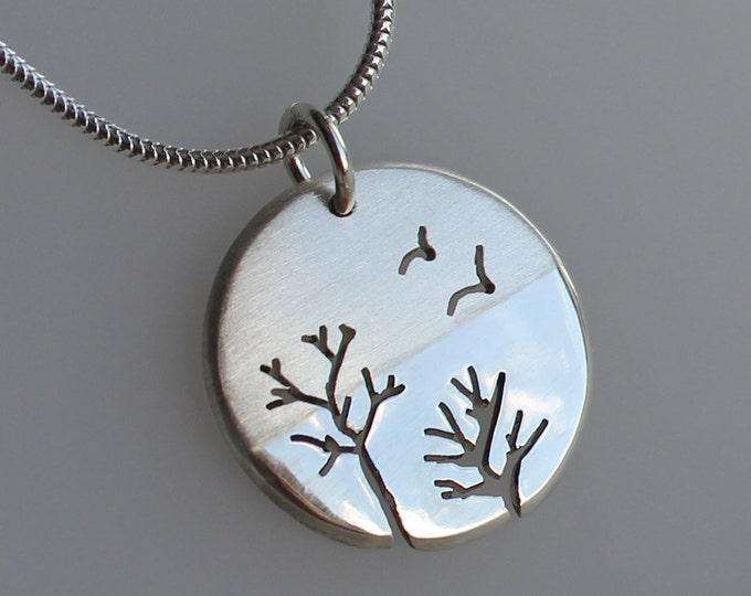 Woodland Flight Pendant, Silver Jewelry, Silver Pendant, Pendant, Silver Jewellery