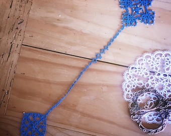 For Beth ~ blue tatted cross bookmark