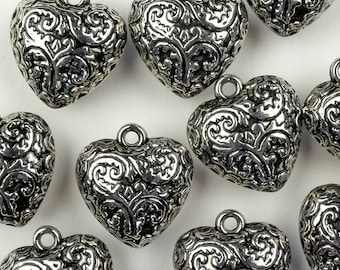 Puffed heart pendants, 10pcs antique silver tone large heart charms with filigree pattern, lightweight charms in metallised acrylic.