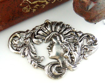 Summer Sale ANTIQUE SILVER Large Art Nouveau Goddess Alphonse Mucha Woman Stamping ~ Jewelry Findings (FC-14) #
