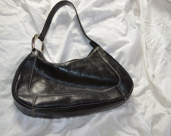 Vintage Franco Sarto bag, black with a silver hoop/circle punk rock purse; perhaps for keychains collection