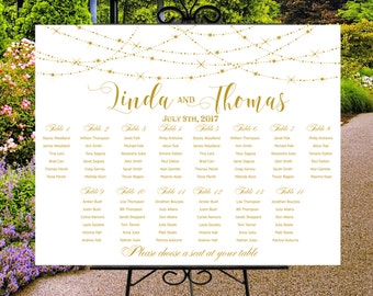 Wedding seating chart printable white gold, custom wedding sign guests list,  seating plan, party poster personalized, string lights