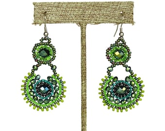 Hand beaded green earrings crystalicious #109