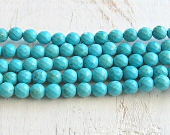 Faceted Magnesite, 6mm beads, full strand, turquoise Magnesite, blue turquoise beads, blue magnesite, blue beads, 6mm blue beads, US seller
